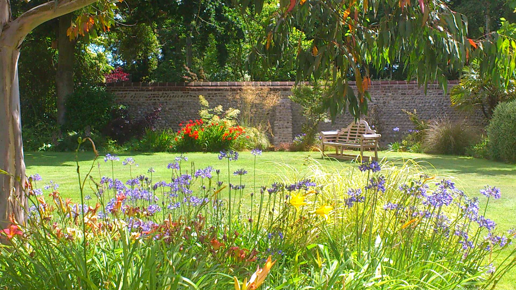 The gardens at Abbey Farm Cottages